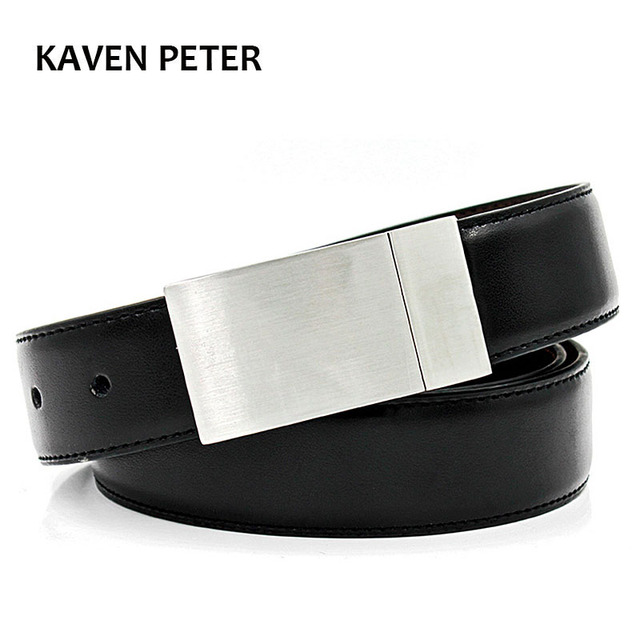 Genuine Leather Luxury Strap Male Plain Belts Buckle For Trousers Reversible Men High Quality Cow