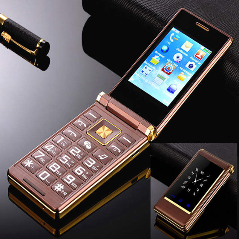"Flip dual screen 3.0"" original flip russian keyboard cheap senior touch mobile phone Phone Elde"