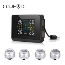CAREUD U906C 2 Порты usb для заряда телефона автомобиля Беспроводной TPMS шин Давление монитор Системы + 4 Внешний Сменный Батарея датчики