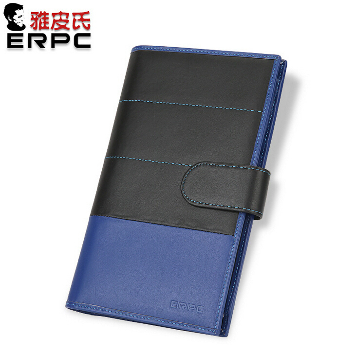 Men Genuine Leather Long Wallet Patchwork Color Black & Blue Purse Big Capacity for Passport Air Ticket Pen for Business Travel lorways 016 stylish check pattern long style pu leather men s wallet blue coffee