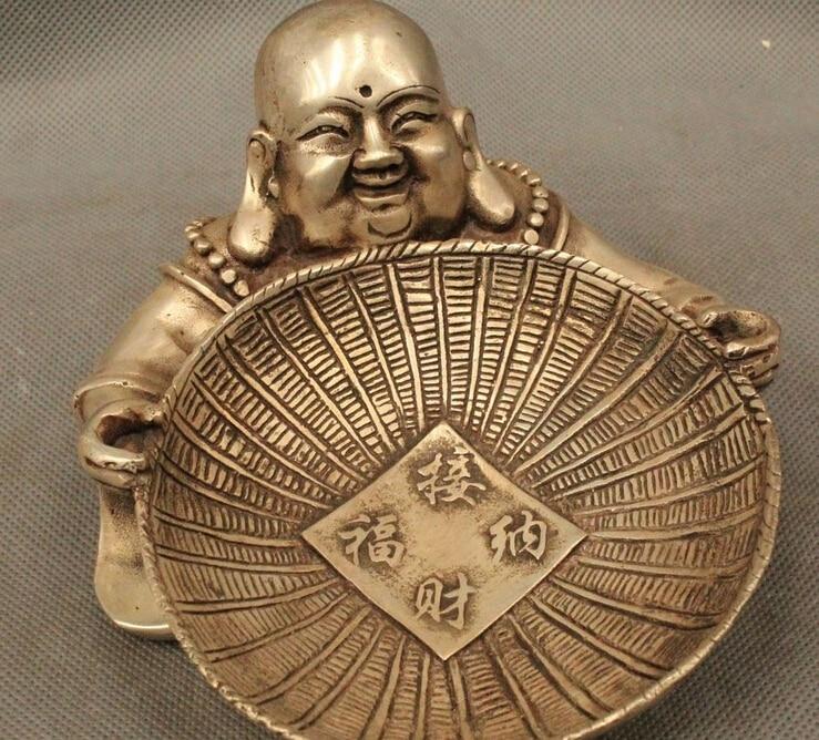 4China Chinese Tibet Folk Silver Maitreya Buddha Ashtray Statue R0715 (B0328)4China Chinese Tibet Folk Silver Maitreya Buddha Ashtray Statue R0715 (B0328)