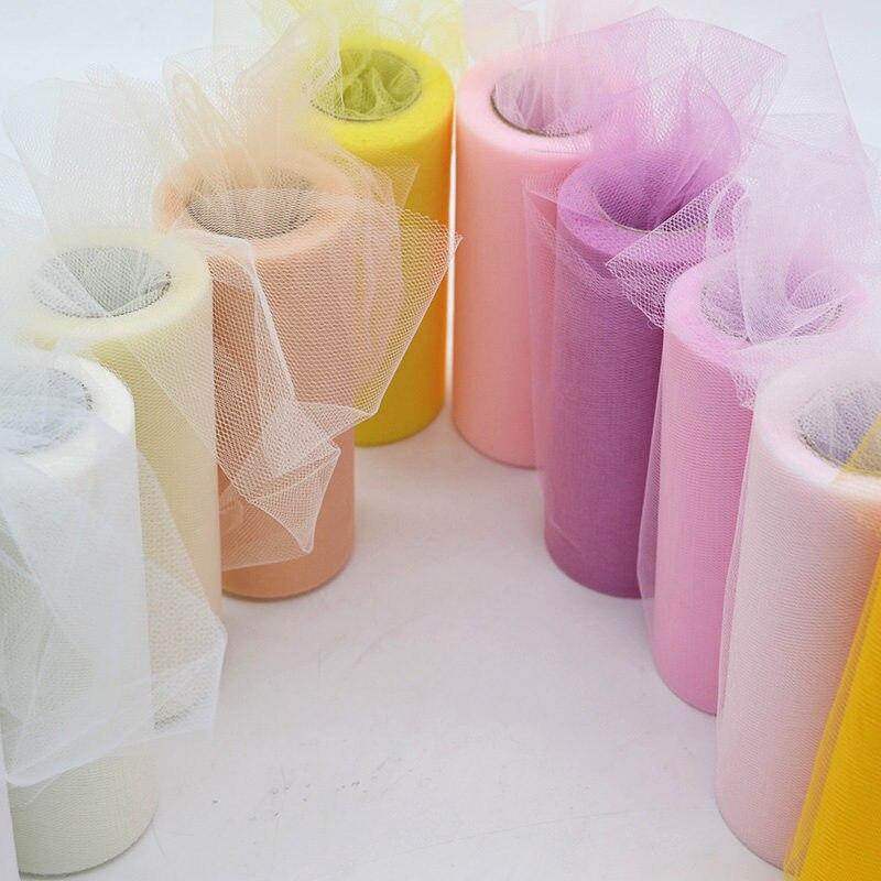 15 см 25 ярдов тюль рулон катушки пачка ткань Свадебные украшения Baby Shower органза Лазерная DIY ремесла день рождения поставки