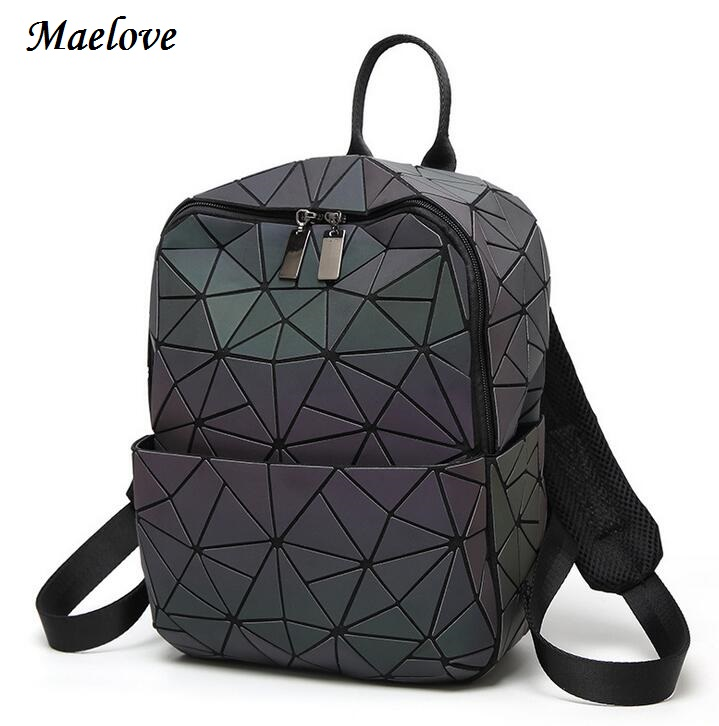 Maelove Luminous backpack 2017 Hot women geometry lattic backpack Noctilucent Bag Student s School Bag Free