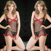 Sexy Lady Black Lingerie Nightie Red Lace Sheer Chemise Babydoll Dress S-L 6-12