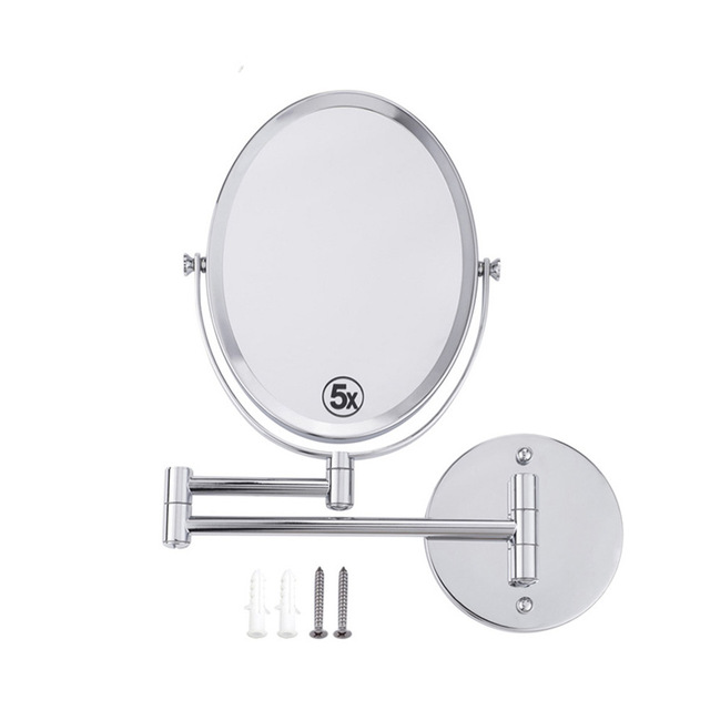 8 Inches Oval Wall Mounted Make Up Mirror Shaving Bathroom 5x Magnification Dual 2 Sided