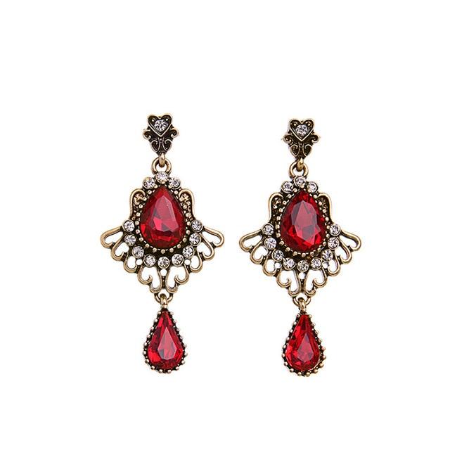 Red Rhinestone Glass Chandelier Teardrop Drop Earrings Antique Brass Vintage Victorian Romantic Modern Accessories