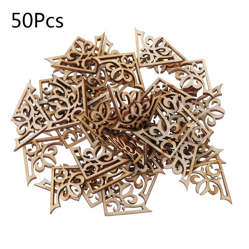 50pcs Laser Cut Wood Embellishment Wooden Shape Craft Wedding Decor For Wood DIY Handmade Craft UHJSD