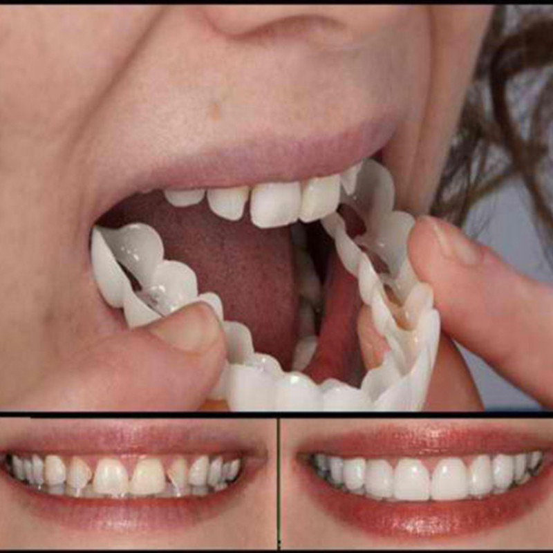 Natural Cosmetic Fake Tooth Cover Snap On Silicone Perfect Smile Veneers Teeth Upper Beauty Tool Teeth for Men Women Drop Ship