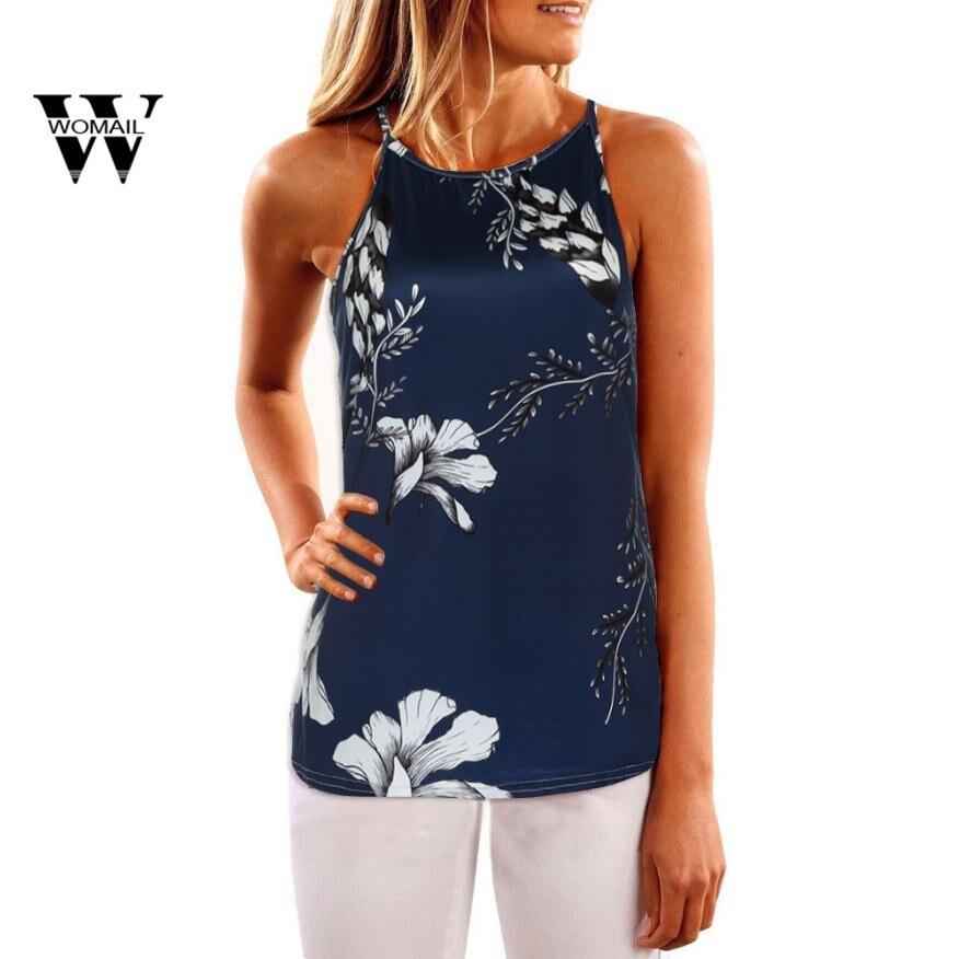 2018 New Fashion drak blue Shirt Women Summer Print off Shoulder Vest Sleeveless Blouse Casual   Tank     Tops   T-Shirt Mar 27