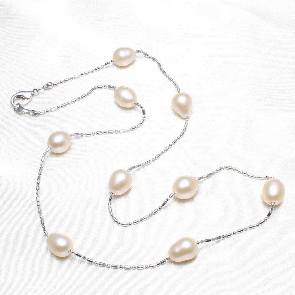 Hot Sale Natural white Freshwater Pearl Silver-color Chain Necklace