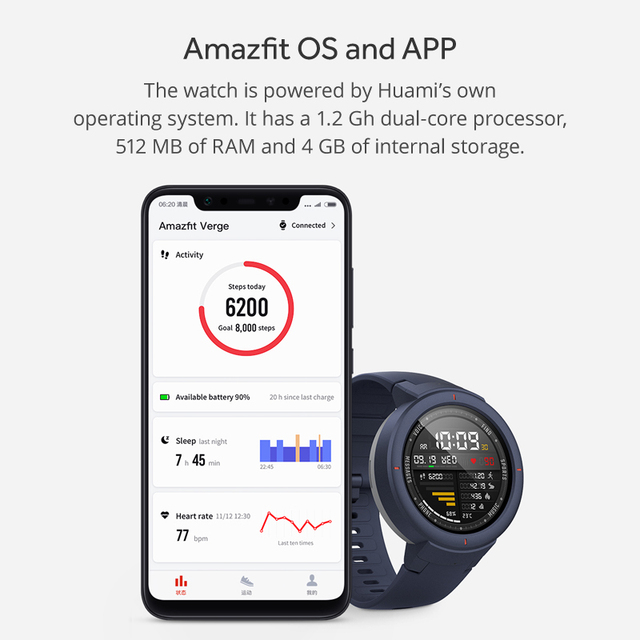 Amazfit Verge English Version Smartwatch 1.3-inch AMOLED Screen Dial & Answer Calls Upgraded HR Sensor GPS Smart Watch 5