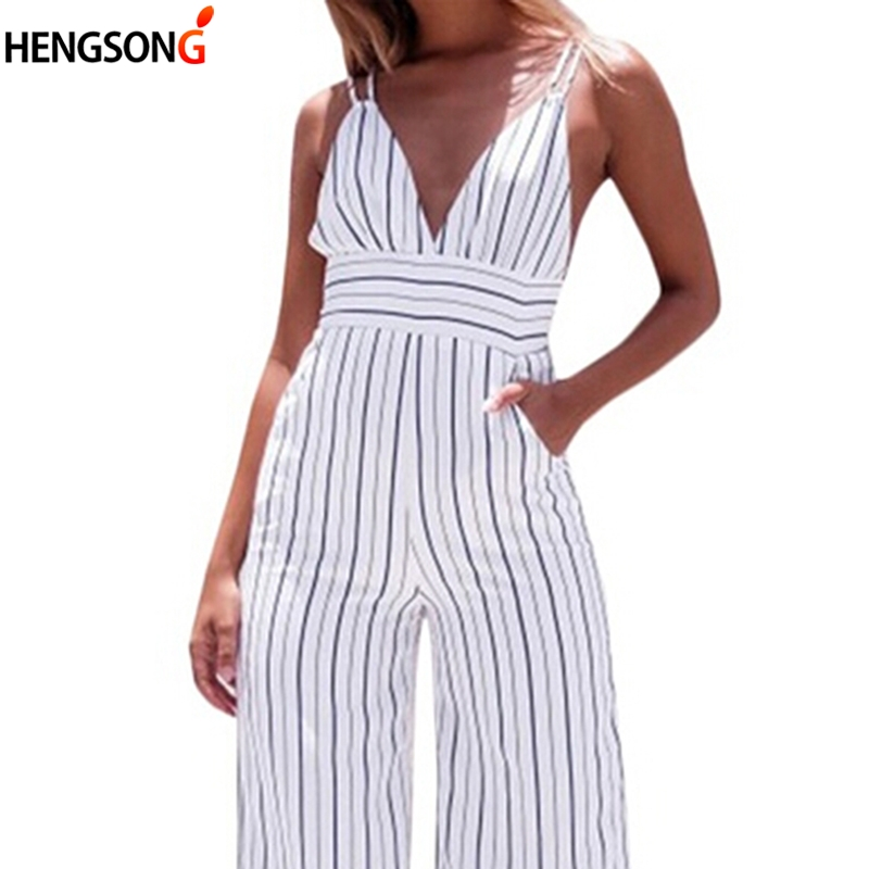 2018 Summer Women Striped Running Pants Sleeveless Strap Lady Sexy Deep V-neck Slim Backless Pants For Women