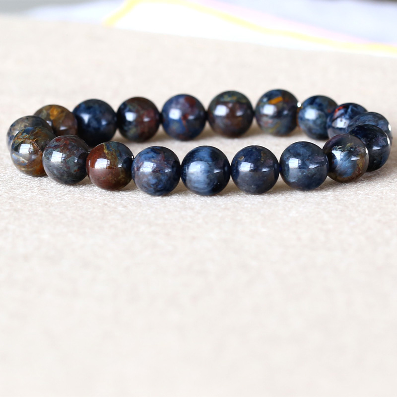 Genuine Natural Blue Gold Pietersite Namibia Stretch Men's Bracelet Round Beads 9.5mm 05041 недорого