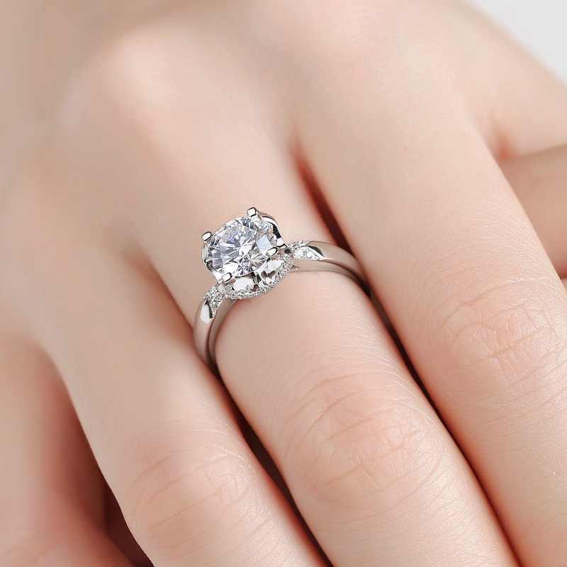 Обручальное CZ каменное кольцо с сердечками и стрелками, Круглый и блестящий, кольцо для невесты, Твердое Серебро 925 пробы, предложение, кольцо, подарок для жены
