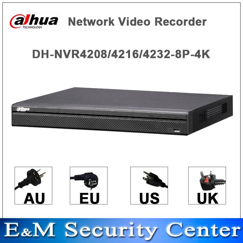 Original Dahua English version 4K NVR NVR4208-8P-4K NVR4216-8P-4K NVR4232-8P-4K H265 H264 8POE ports