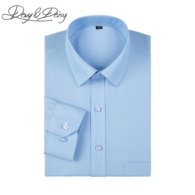 958db243c9 DAVYDAISY Camisa Social Dos Homens Primavera Sarja Sólidos Camisas de Manga  Longa Slim Fit Vestido Formal