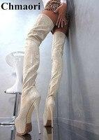Пикантные вечерние туфли на высоком каблуке шпильке 16 см наивысшего качества женские ботфорты с принтом змеиной кожи сапоги на платформе с