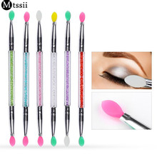 Mtssii 1pc Cosmetic Makeup brushes Double-end Eye Shadow Eyeliner Brush Sponge Applicator Tool for Women Lady Beauty