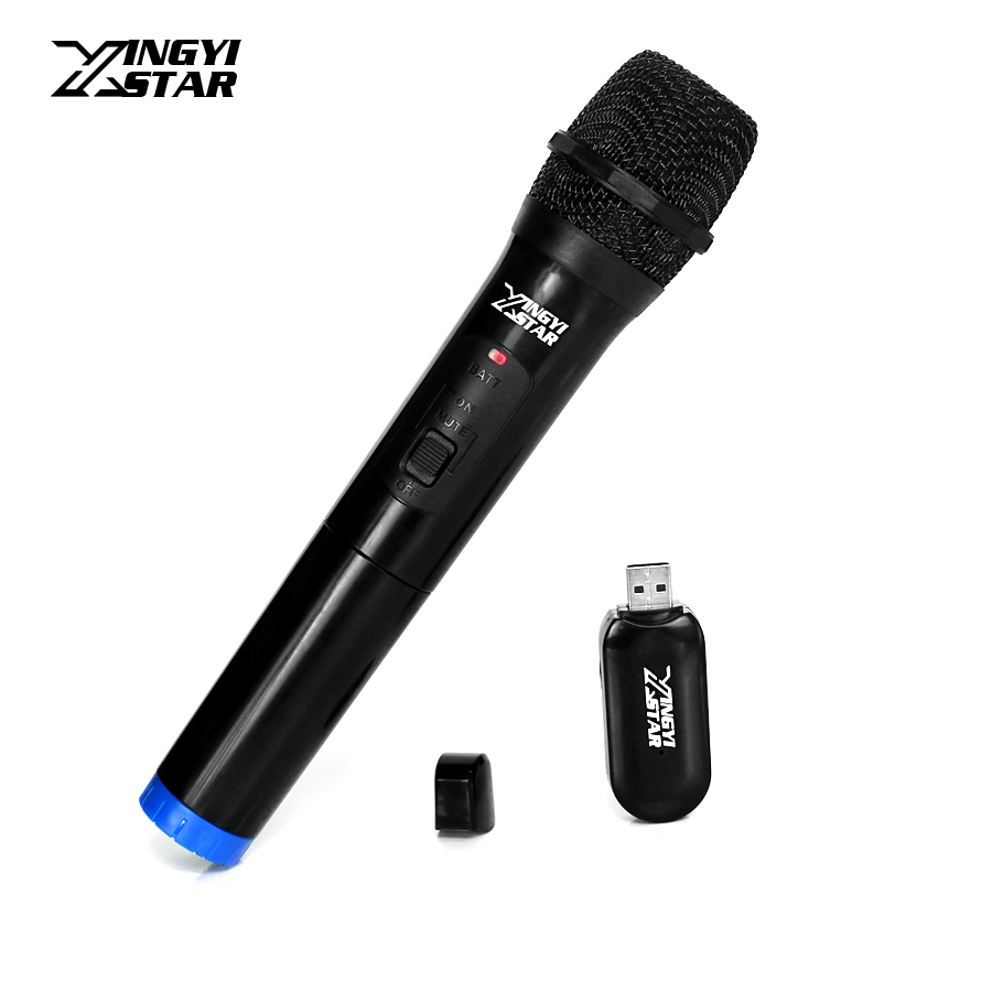portable handheld wireless microphone system karaoke mic with jack usb cordless receiver. Black Bedroom Furniture Sets. Home Design Ideas