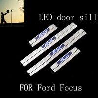 Carro-Styling PARA Ford Focus 2012 2013 2014 2015 2016 aço inoxidável do peitoril da porta da placa do scuff LED acessórios Do Carro Styling