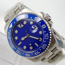 43mm Bliger Blue Dial GMT Luxury Brand Sapphire Glass Luminous Hands Date ceramic bezel SS Case Automatic Movement Men's Watch все цены