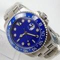 43mm Bliger esfera azul GMT lujo marca zafiro vidrio luminoso manos fecha cerámica bisel SS caja movimiento automático hombres reloj