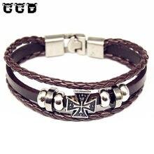 2017 New Design Leather Bracelet Jewelry Fashion Multilayer Charm Wrap Bracelet For Women Men Cross Leather Bracelets & Bangles