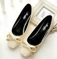 Лакированной Кожи Лук Плоские Туфли, квадратных Ног Квартиры Весна Сладкого Zapatos Mujer 2017 Новый Корейский Моды женская Обувь