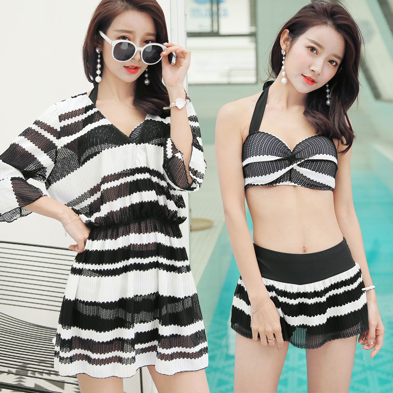 Summer sunscreen cover-ups bikini Swimwear 2018 new Sexy stripe Short skirts three piece swimsuit beach women bathing suits