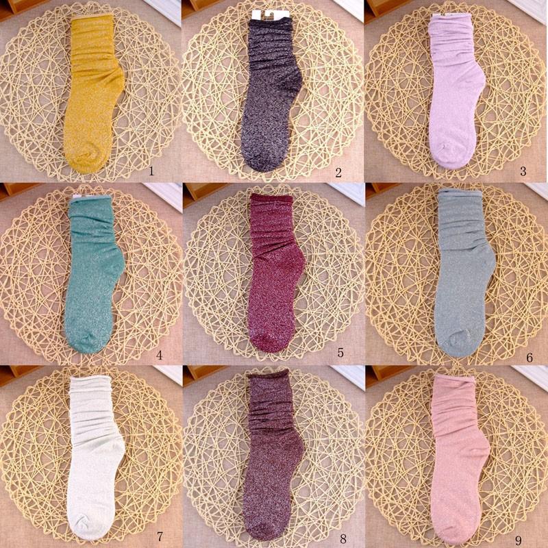 Fashion Long Socks Women Winter Cotton Happy Socks Funny Shiny Loose Glitter Socks Thick Warm Edge Curl Elegant Christmas Socks 4
