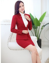 New 2015 Autumn And Winter Career Work Suits Professional Jackets And Skirt Uniform Styles Ladies Office