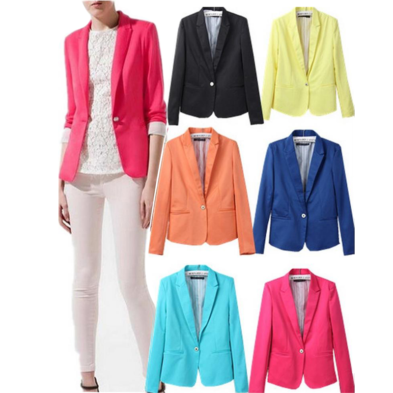 Spring and autumn new women Europe America candy color lining stripe suit a small buckle ...