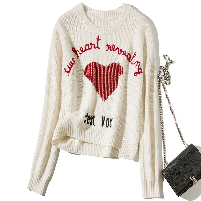 Pullover and Sweaters 2019 Autumn Winter Knitwear Women Sweetheart Pattern Knitting Long Sleeve Plus Size Casual Wool Sweaters
