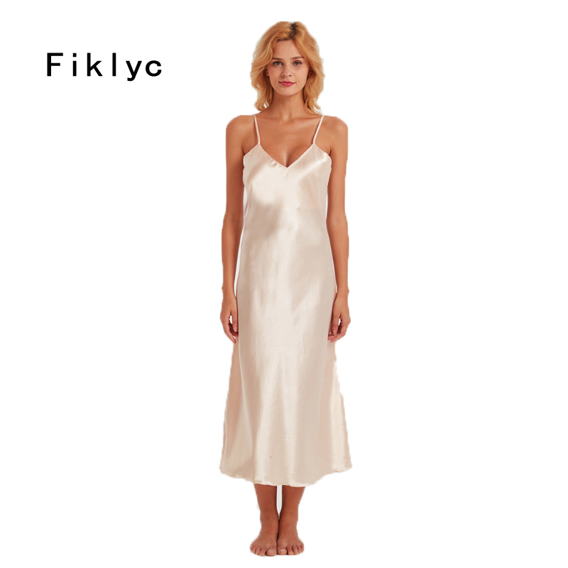Fiklyc brand sexy women's long style   nightgowns   fashion luxury V-neck mid-calf length sleepwear nightdress suspenders   sleepshirt