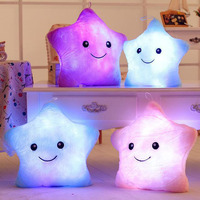 High Quality Luminous Pillow ChildrenToys Flashing Led Light PlushThrow Pillow Colorful Stars Kids Dool With Music