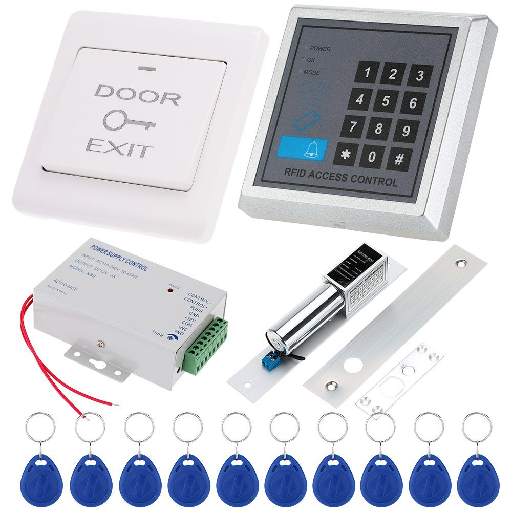 YobangSecurity RFID Door Access Control System With Electronic Lock DC Power Supply Proximity Door Entry keypad with EXIT Button