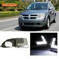 EeMrke Car LED DRL Para Dodge Journey JCUV JC 2009 2010 2011 2012 de Alta Potência Xenon Branco Cobertura Nevoeiro Luzes Diurnas Kits