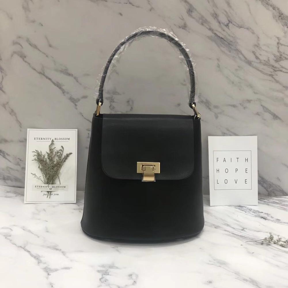 Bolso de rima tienda 2018 nuevos bolsos de cuero coreanos de cuero hombro Portátil Bolsa de cubo de mensajero de moda bolsa Casual