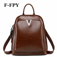 F FPY Brand Women Backpacks Vintage V Letter Rivets Female Travel Shoulder Bag Oil Wax Leather Teenager Girls School Bag Laptop