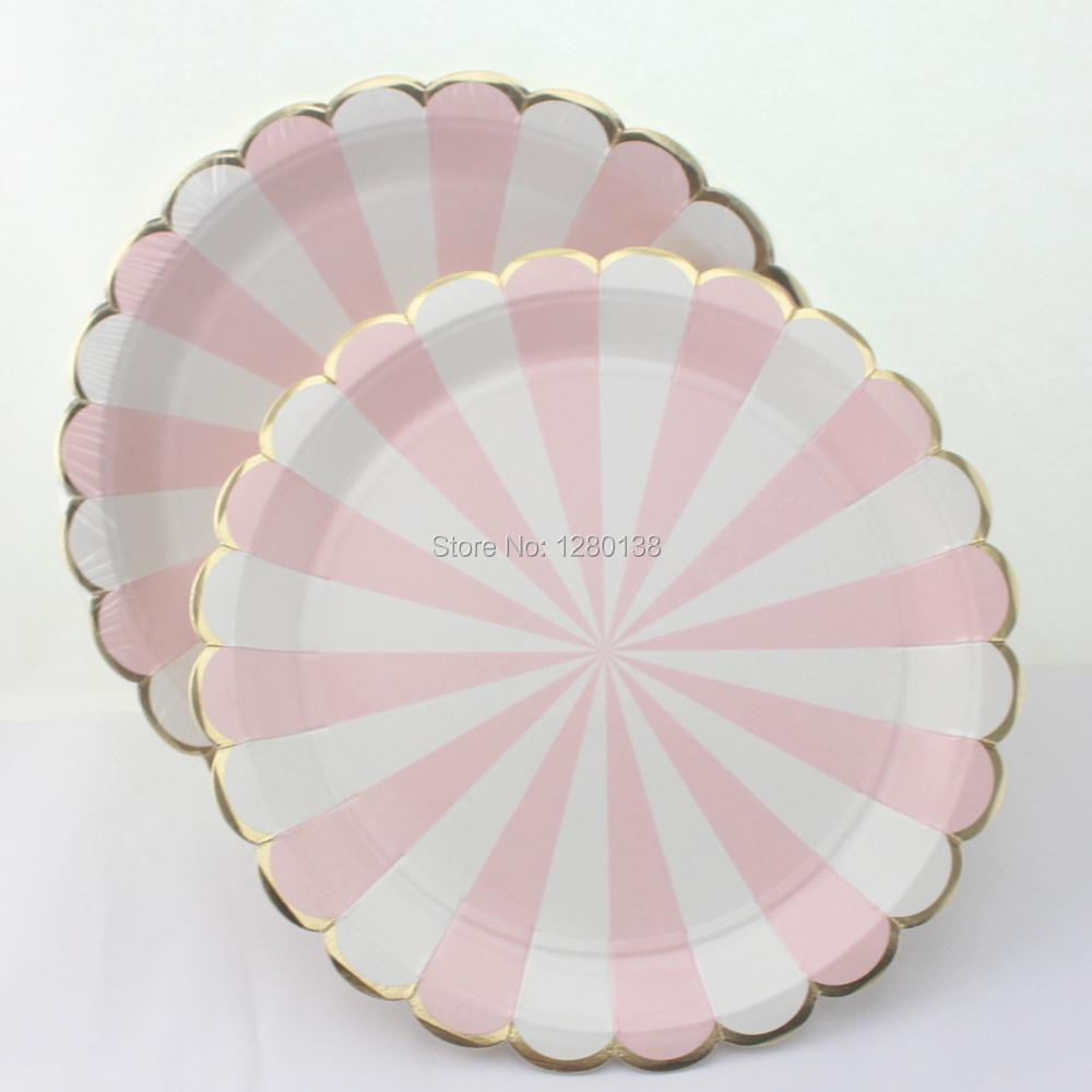 48pcs Scallop Shell Style Party Paper Plates with Light pink striped and Metallic gold foil edge for Girls Baby Shower Supplies