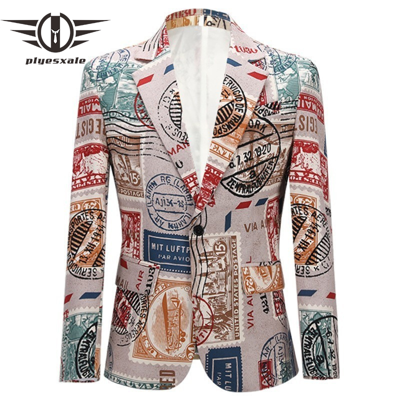 Fashion Brand Mens Printed Blazer Jacket Retro Vintage Blazer For Men Red Lips Letters Pattern Hip Hop Mens Prom Blazers Q616