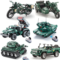 Compatible with legoings World War II Motorcycle Technic Military Remote Control RC Building Block Weapon Army Technic Series