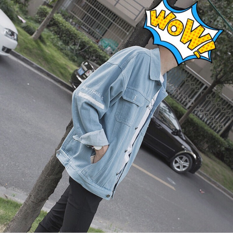 2019 Autumn Recommend new listing casual Fashion Clothing Male Korean version Loose Cowboy Jacket Clothes Easy The size M-1XL