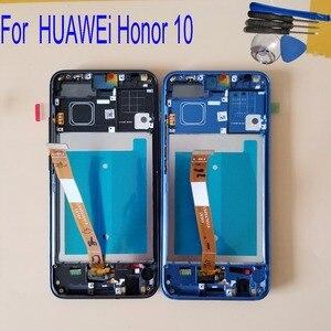 Image 1 - Оригинальный с отпечатком пальца для huawei honor 10 COL L29 ЖК дисплей кодирующий преобразователь сенсорного экрана в сборе для huawei honor 10 Global lcd