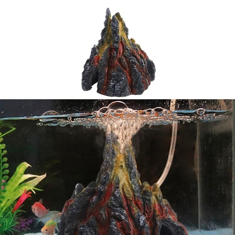Aquarium Volcano Shape & Air Bubble Stone Oxygen Pump Fish Tank Ornament Decor W212