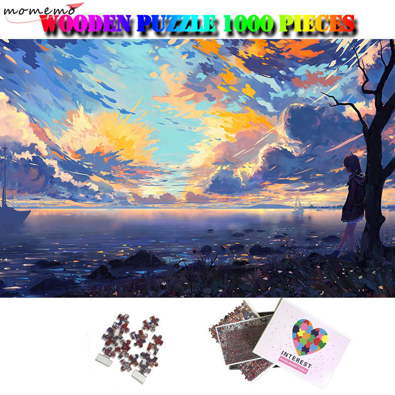 1000 Pieces Puzzle Anime Scenery Girl Jigsaw DIY Funny Early Education Toy