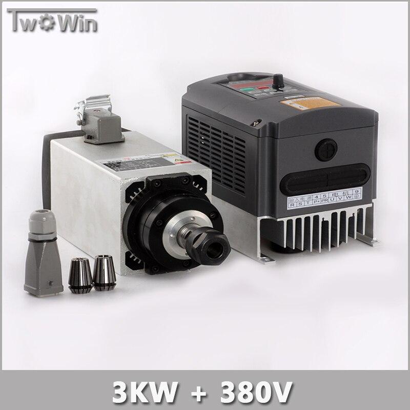 3KW 380V Spindle Motor 3kw Air Cooled Spindle + 4KW 380V Inverter cnc Router Spindle Motor. шпиндель станка cs 3kw 3 3000w cnc b326d 3kw spindle motor