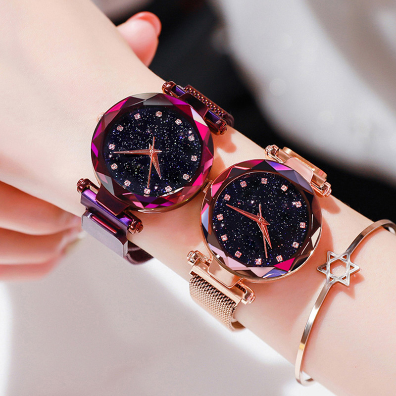 Ladies Magnetic Starry Sky Clock Luxury Women Watches Fashio