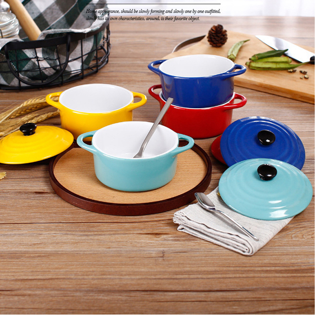New Brief Style Ceramic Soup Bowl High Capacity Soup Pot Use For Mirowave Oven Thicker Tableware & New Brief Style Ceramic Soup Bowl High Capacity Soup Pot Use For ...