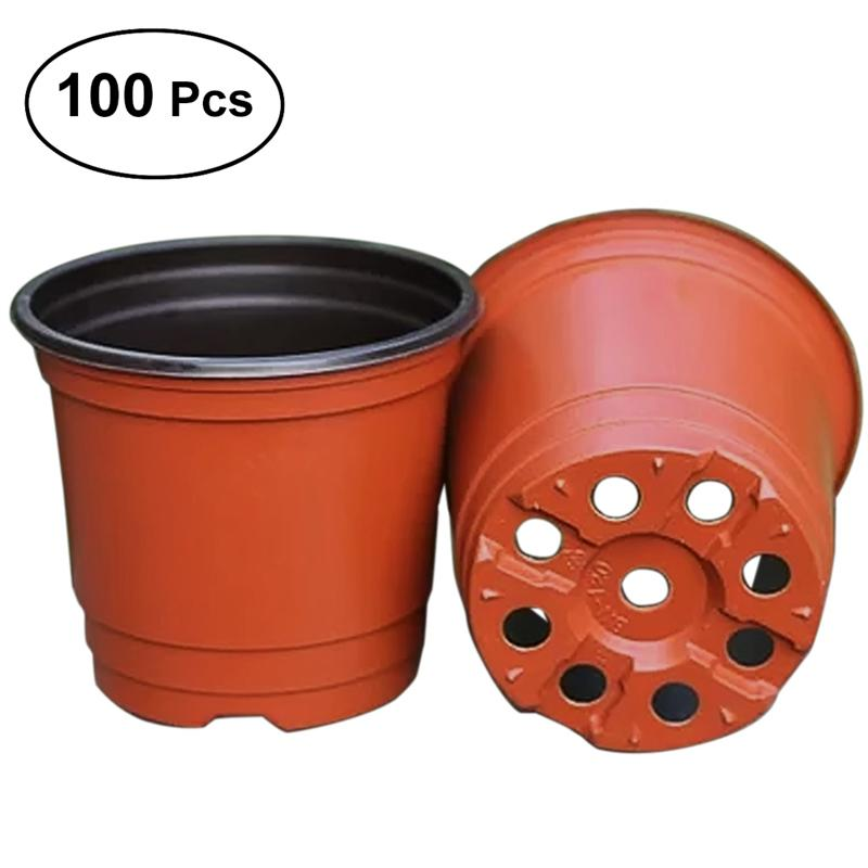 Us 13 25 39 Off Bestoyard 100pcs 11 8 5 9 5cm Dual Color Plastic Plants Nursery Pot Seedlings Flower Plant Container Seed Starting Pots In